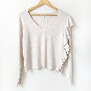 John + Jenn cream ruffled sweater